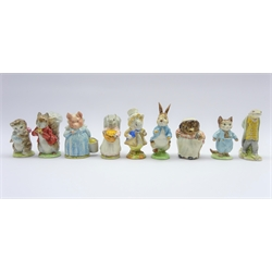 Nine Beswick Beatrix Potter figures Mrs Tiggy Winkle, Sir Isaac Newton, Tom Kitten, Sweeping and Goody Tiptoes, Timmy Tiptoes, Aunt Pettitoes, Miss Moppet, Peter Rabbit &amp Amiable Guinea-pig (9)