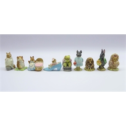 Nine Beswick Beatrix Potter figures Hunca Munca, The Old Woman who live in a Shoe, Timmy Willie, Thomasina Tittlemouse, Old Mr Pricklepin, Pig-Wig, Chippy Hackee, Mr Jackson &amp Little Black Rabbit (9)