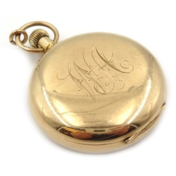 9ct gold pocket watch by Walker & Sons Sunderland, case by William Ehrhard, Chester 1913