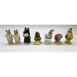 Four Royal Albert Beatrix Potter figures Tailor of Gloucester, Sally Henny Penny, Mother Lady Bird &amp Babbitty Bumble, two Beswick figures Duchess and Tailor of Gloucester (both a/f) and John Beswick Cottontail (7)