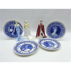Royal Doulton figure 'Diana', Royal Worcester figure of Queen Elizabeth II, another by Coalport and four Wedgwood commemorative plates (7)