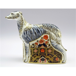 Royal Crown Derby paperweight 'Lurcher', with gold stopper and box, H17cm