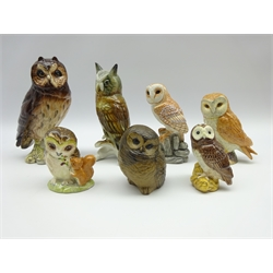 Seven porcelain owl models comprising Karl Ens no. 7588, Royal Albert 'Old Mr Brown' Poole and four Beswick/ John Beswick (7)