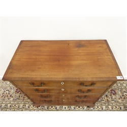 George III mahogany chest rectangular cross banded top above four graduating drawers, bracket feet, W80cm, H83cm, D41cm