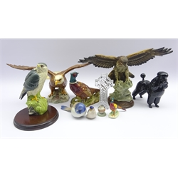 Beswick Poodle, two Pheasants &amp Bald Eagle no. 1018, Bing and Grondahl titmouse bird, two Copenhagen birds, porcelain model of a Sparrowhawk, eagle and a Waterford crystal cross, boxed (9)