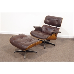 Charles & Ray Eames for Herman Miller - 1960s laminated plywood and rosewood veneered lounger upholstered in buttoned brown leather and matching ottoman, model no. 670 & 671, W84cm  CITES Certificate no. 576372/01  Recently refurbished by Graham Mancha Ltd. Bedfordshire