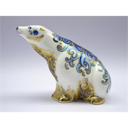 Royal Crown Derby paperweight 'Aurora Polar Bear' signature edition for Connaught House, 104/1500, golf stopper with certificate and box