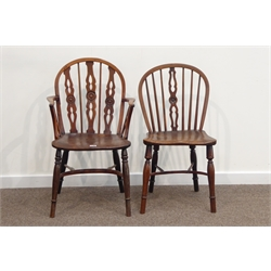 19th century Thames Valley yew and elm low back Windsor armchair, stick and splat back with turned roundels, crinoline stretcher and similar side chair