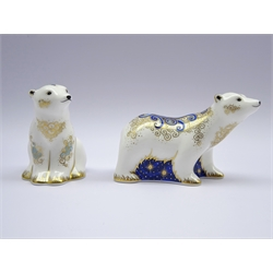 Two Royal Crown Derby Polar bear paperweights 'Alice' and 'Boris' signature edition for Connaught House 104/950 with gold stopper and box