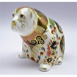 Royal Crown Derby paperweight 'Old Imari Bulldog' with gold stopper and box