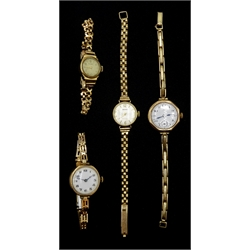Omega 9ct gold ladies manual wind wristwatch on gold plated strap, 9ct gold Seiko and Rotary bracelet wristwatches hallmarked and one other 9ct gold wristwatch on gold plated strap
