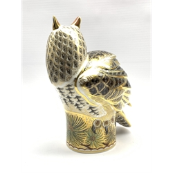 Large Royal Crown Derby 'Long Eared Owl' limited edition paperweight modelled by Donald Brindley with gilt signatures, gold stopper and backstamp No. 213/300 boxed and with certificate H27cm