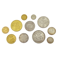 Queen Victoria, eleven coins all dated 1887, comprising gold five pounds, two pounds, sovereign and half sovereign, silver crown, double florin, half crown, florin, shilling, sixpence and threepence