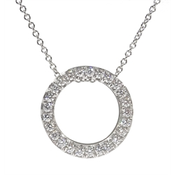 18ct white gold diamond set circle pendant necklace, stamped 750