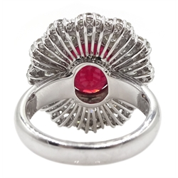White gold oval ruby and round brilliant cut diamond ring, stamped 14K, ruby approx 5.70 carat, total diamond weight approx  2.70 carat