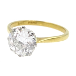 Gold single stone round brilliant cut diamond ring, stamped 18ct Plat, diamond approx 2.20 carat
