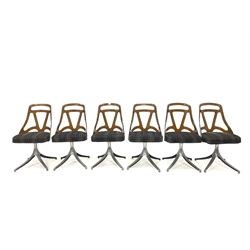 Grafton, Wisconsin - Circa 1960s set six dining chairs with brown Acrylic back rests, upholstered seat,  raised on swivelling aluminium bases with splayed supports, W46cm