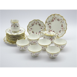 Royal Crown Derby 'Royal Antoinette' pattern tea service comprising 6 cups and saucers, 6 plates, 2 bread and butter plates, milk jug and covered sugar bowl