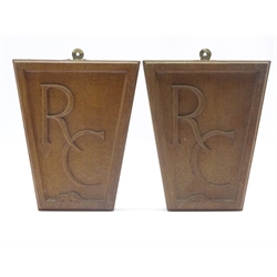 Pair 1960s 'Mouseman' oak wall plaques with carved R.C monogram by Robert Thompson of Kilburn, H29.5cm x W25cm