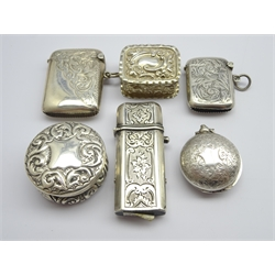 Victorian engraved silver sovereign case Birmingham 1896, 3 silver vesta cases and 2 small silver boxes 3.4ozs
