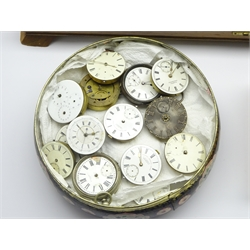 Large quantity of various 19th century pocket watch movements, some with cases, and quantity of watch makers tools including, pincers, screwdrivers, keys etc...