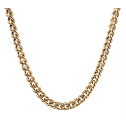 Rose gold flattened curb link chain necklace, hallmarked 9ct