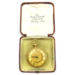 18ct gold pocket watch by Robert Robson, Thirsk no.3724, London 1878, approx 58gm