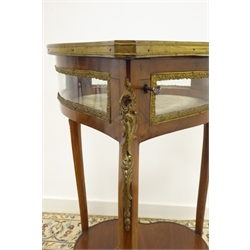 20th century French rosewood and Kingwood heart shaped bijouterie cabinet, hinged bevel glazed lid with floral inlay, three cabriole supports connected by undertier, gilt metal mounts, 44cm x 50cm, H82cm