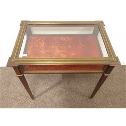 20th century mahogany bijouterie cabinet, hinged lid with bevelled glass plate, inlaid brass banding and stringing square tapering supports with brass cups, 77cm x 52cm, H74cm
