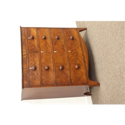 Early 19th century figured mahogany bow front chest, two short and three long drawers, W110cm, H113cm, D53cm