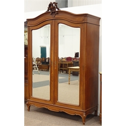 19th century French provincial oak double armoire wardrobe, shaped pediment with floral carved cartouche, two shaped bevel glazed doors enclosing hanging rail, W156cm, H244cm, D65cm