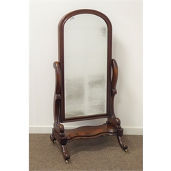 Victorian mahogany cheval dressing mirror, moulded arched frame, on scroll splayed supports, H141cm