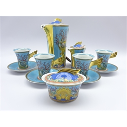 Rosenthal Studio Line Versace coffee set decorated in 'Les Tresors de la Mer' design comprising Coffee Pot, sugar box and cover, cream jug and cover (boxed) and 4 espresso cups and saucers