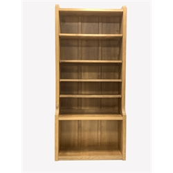 'Mouseman' Yorkshire oak open bookcase, with four fixed and one adjustable shelf, carved with mouse signature, W84cm, H183cm, D34cm