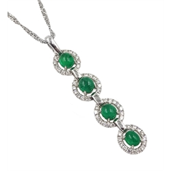 18ct white gold emerald and diamond pendant, four oval cabochon emeralds, with diamond halo surrounds, stamped K18, on 9ct white gold chain hallmarked, total emerald weight 2.00 carat, total diamond weight 0.57 carat
