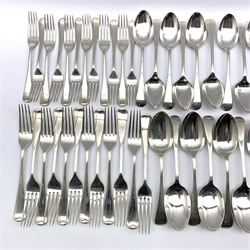 Suite of Old English pattern silver cutlery comprising eleven table forks, eleven table spoons, six larger table spoons, eleven dessert spoons, twelve dessert forks, six tea spoons and a pair of sauce ladles Sheffield 1910/11/12 Maker Maple & Co together with a matching table fork, two table spoons and six tea spoons by John Round 120oz