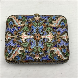 Russian silver gilt and enamel purse of scrolling design in polychrome enamels on a matt ground and with watered silk interior, 7.5cm x 6cm, 84 zolotniks standard, St Petersburg town mark Makers mark HC