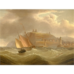 Henry Moore of Hull (British 1831-1895): Ship in Rough Seas off Whitby, oil on canvas signed 40cm x 52cm
