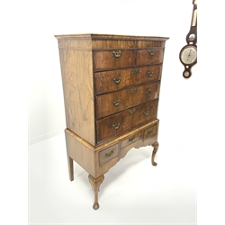 18th century and later walnut chest on stand, projecting moulded cornice over two short and three long drawers, stand fitted with three small drawers above shaped apron, on cabriole supports, W97cm, H155cm, D52cm