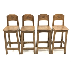 'Catman' set of four Yorkshire oak bar stools, back rest carved with Yorkshire rose roundel, shaped and adzed seat panel, raised on square supports, by Chris Checksfield of Whitby (Ex Gnomeman) W32cm