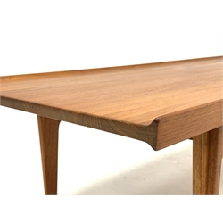 Finn Juhl for France & Sons - Rare early 'model. 532' solid teak coffee table, outer facing ridge supports, with two labels underneath, circa.1959/1960, 145cm x 54cm, H41cm