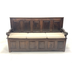18th century and later joined oak hall settle, with panelled back and front, hinged seat, shaped arm rests and raised on stile supports, W180cm, H106cm, D49cm