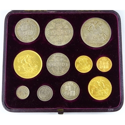 Queen Victoria 1887 eleven coin year set comprising gold five pounds, two pounds, sovereign and half sovereign, silver crown, double florin, half crown, florin, shilling, sixpence and threepence, in 'Xmas 1887' fitted case