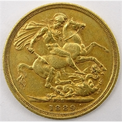 Queen Victoria 1889 gold full sovereign
