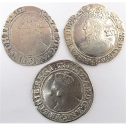 Elizabeth I Shilling 1582-1584, plus one other and a Charles I Shilling 1632-1633 clipped, all cleaned.