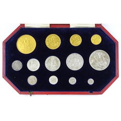 King Edward VII 1902 Coronation year matt proof specimen set, comprising gold five pounds, two pounds, sovereign and half sovereign, silver crown half crown, florin, shilling, sixpence and maundy set, the fourpence not being from 1902 but from 1937, in original fitted case