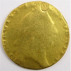 George III gold 'spade' guinea, heavily worn, holed and refilled