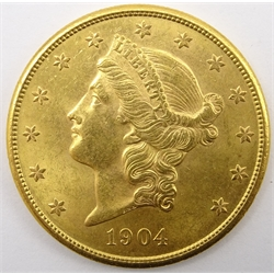 United States of America 1904 gold twenty dollars coin, S mint mark