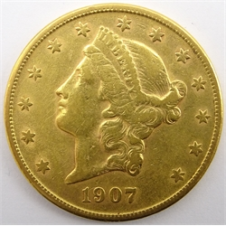 United States of America 1907 gold twenty dollars coin, S mint mark