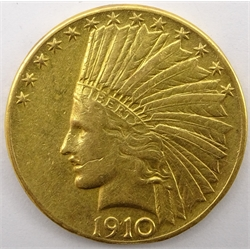 United States of America 1910 gold ten dollar coin, D mint mark